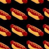 Hot dog isometric bezszwowy patern Fast food 3D na czerni Zdjęcia Royalty Free