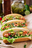 Hot dog with jalapeno peppers, tomato, cucumber and lettuce Royalty Free Stock Photos