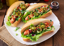 Hot dog with jalapeno peppers, tomato, cucumber and lettuce Royalty Free Stock Photo