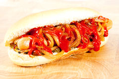 Hot dog with ketchup Royalty Free Stock Photo