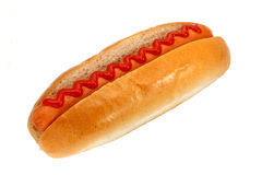 Hot Dog with Ketchup. Hot dogs or Wiener with tomato sauce, a popular fast food Royalty Free Stock Images