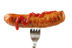 Hot Dog with Ketchup Stock Photos