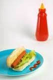 Hot dog and ketchup Stock Photo