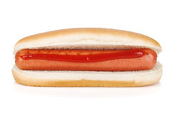 Hot dog with ketchup Stock Images