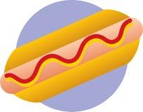 Hot dog with ketchup and mustard. Illustration of a hot dog with ketchup and mustard Royalty Free Stock Photo