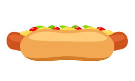 Hot dog with ketchup and mustard Stock Photo