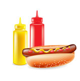 Hot dog with ketchup and mustard Royalty Free Stock Images
