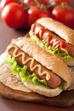 Hot dog with ketchup mustard and lettuce Stock Photos