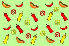 Hot dog. Illustration on a green background. Royalty Free Stock Photos
