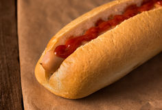 Hot dog with ketchup Royalty Free Stock Photo