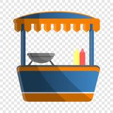 Hot dog kioska ikona, kreskówka styl ilustracji