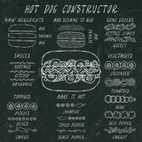 Hot Dog konstruktor Set fasta food menu składniki Ręka Rysująca Wysokiej Jakości Czysta Realistyczna Wektorowa ilustracja Doodle  zdjęcia royalty free