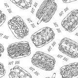 Hot Dog and Lettering Seamless Endless Pattern. Many Ingredients. Restaurant or Cafe Menu Background. Street Fast Food Collection. Realistic Hand Drawn High royalty free stock images