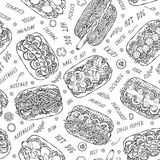 Hot Dog and Lettering Seamless Endless Pattern. Many Ingredients. Restaurant or Cafe Menu Background. Street Fast Food Collection. Realistic Hand Drawn High stock photo
