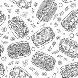 Hot Dog and Lettering Seamless Endless Pattern. Many Ingredients. Restaurant or Cafe Menu Background. Street Fast Food Collection. Realistic Hand Drawn High stock images