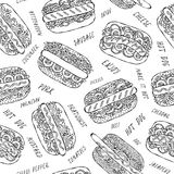 Hot Dog and Lettering Seamless Endless Pattern. Many Ingredients. Restaurant or Cafe Menu Background. Street Fast Food Collection. Realistic Hand Drawn High stock image
