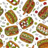 Hot Dog and Lettering Seamless Endless Pattern. Many Ingredients. Restaurant or Cafe Menu Background. Street Fast Food Collection. vector illustration