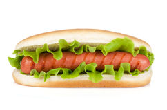Hot dog with lettuce Stock Images