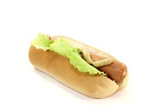 Hot dog with lettuce leaf Stock Photo