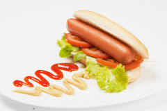 Hot dog with lettuce and mustard Stock Photo