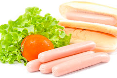 Hot dog, lettuce,tomato,and bread on white background Royalty Free Stock Images