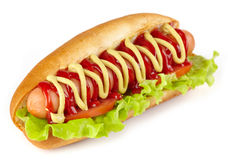 Hot dog. With lettuce and tomato on white background royalty free stock photo