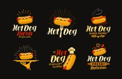 HOT-DOG, logo de nourriture ou label Éléments pour la conception du menu ou du restaurant de restaurant illustration de vecteur d Photographie stock