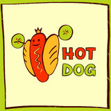 Hot dog logo for eco sport life. Vector logo for fast food. Stock Photos