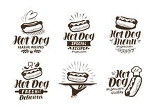 Hot dog logo or label. Fast food, takeaway icon. Lettering vector illustration. Hot dog logo or label. Fast food, takeaway icon. Lettering vector vector illustration
