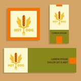 Hot dog logo. Vector logotype for fast food.  Quick and tasty. B Royalty Free Stock Image
