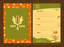 Hot dog logo. Vector logotype for fast food.  Quick and tasty. I Stock Photography