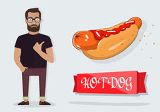 Hot dog and a man for the decoration of cafes, fast food. Hot dog. Detailed vector icon. Series of food and drink and ingredients for cooking Stock Photography