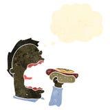 hot dog mangeur d'hommes de rétro bande dessinée Photographie stock