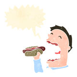 hot dog mangeur d'hommes de rétro bande dessinée Images libres de droits