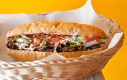 Hot dog with meat and vegetables Royalty Free Stock Images