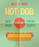 Hot Dog menu price. The best Hot Dogs in town. Vintage poster design. Retro flyer template, folded paper. Flat design, vector illustration, eps 10 Stock Photos