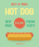 Hot Dog menu, vintage poster. Hot Dog menu price. The best Hot Dogs in town. Vintage poster design. Retro flyer template. Flat design, vector illustration, eps Royalty Free Stock Photo