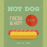 Hot Dog menu, vintage poster. Hot Dog menu price. The best Hot Dogs in town. Vintage poster design. Retro flyer template. Flat design, vector illustration, eps Stock Images