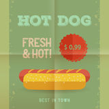 Hot Dog menu, vintage poster. Hot Dog menu price. The best Hot Dogs in town. Vintage poster design. Retro flyer template, folded paper. Flat design, vector Royalty Free Stock Photography