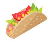 Hot dog mexicain d'isolement sur le blanc Hot-dog de Sonoran illustration de vecteur