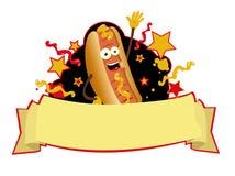 Hot dog śmieszny sztandar Fotografia Stock