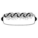 Hot dog monochrome de silhouette avec de la sauce Images stock