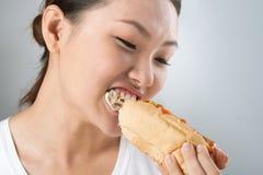 Hot dog mordace Fotografia Stock