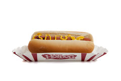 An hot dog with mustard Stock Images