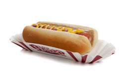 An hot dog with mustard Royalty Free Stock Photos
