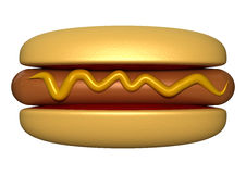 Hot Dog With Mustard Stock Photography