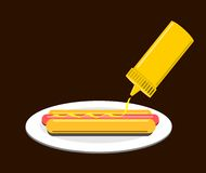 Hot dog and mustard Stock Images