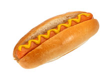 Hot dog with mustard. Hot dog or Wiener with mustard, the ultimate classic finger food Stock Photo