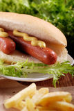Hot dog with mustard. On the table royalty free stock photo