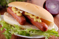 Hot dog with mustard. On the table royalty free stock image